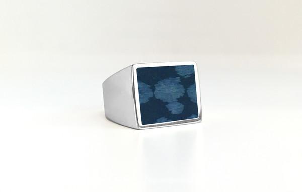 Legier Snowflake Obsidian Stone Signet Ring