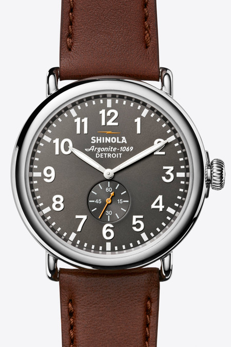 Shinola The Runwell 47mm Watch in Cool Grey/Latigo