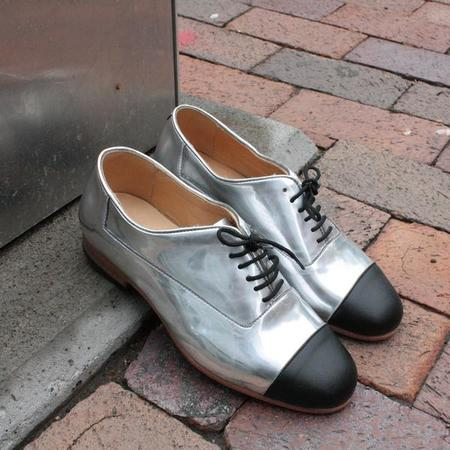 Dieppa Restrepo Silver Metallic Flat Oxford