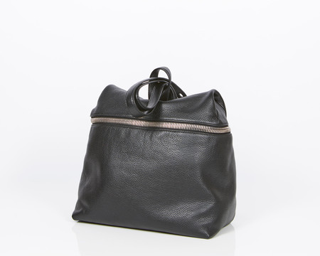 Kara Black Pebbled Leather Backpack