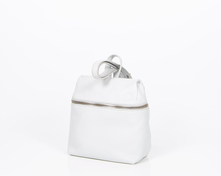 Kara Grey Small Pebbled Leather Backpack