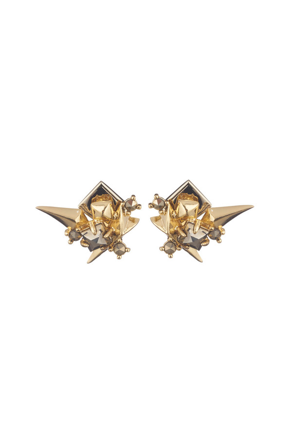 Alexis Bittar Golden Studded Post Earrings
