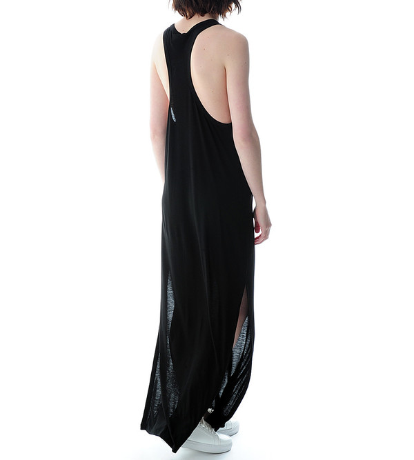 T By Alexander Wang Black Classic Tank Long Dress With Pocket