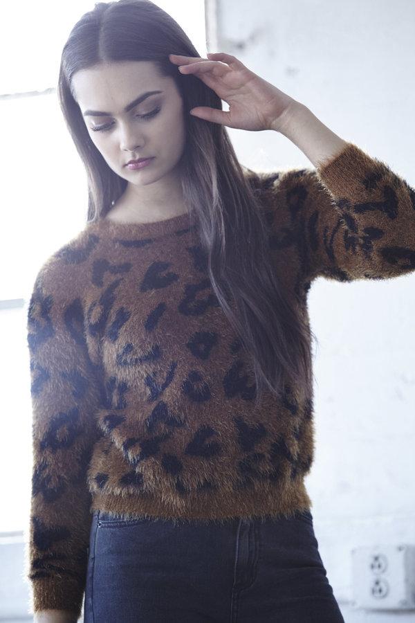 Callahan Leopard Shrunken Crop Sweater