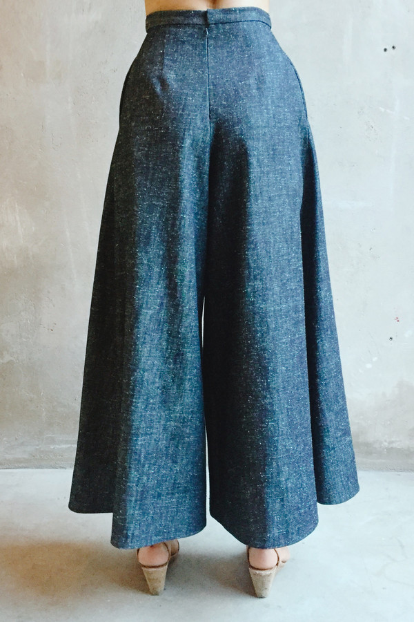 UNIFORME Caro Cropped Palazzo Pants - Silk Cotton Denim