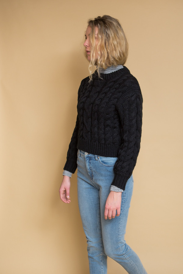 Callahan Braid Crop Sweater / Black