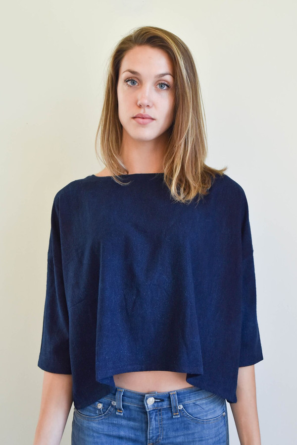 Osei-Duro Osei Duro Box Top in Natural Indigo