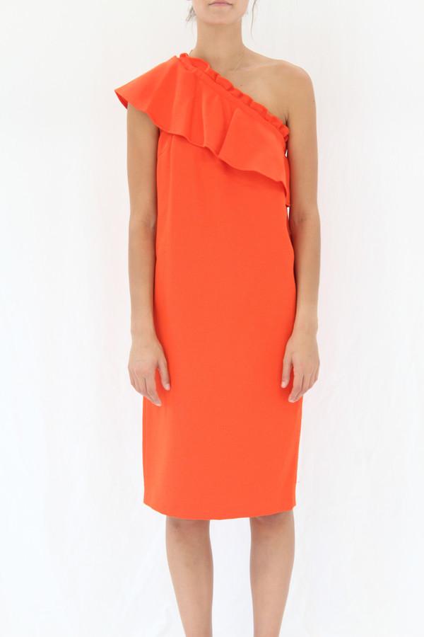 Apiece Apart Reina One Arm Ruffle Dress Persimmon