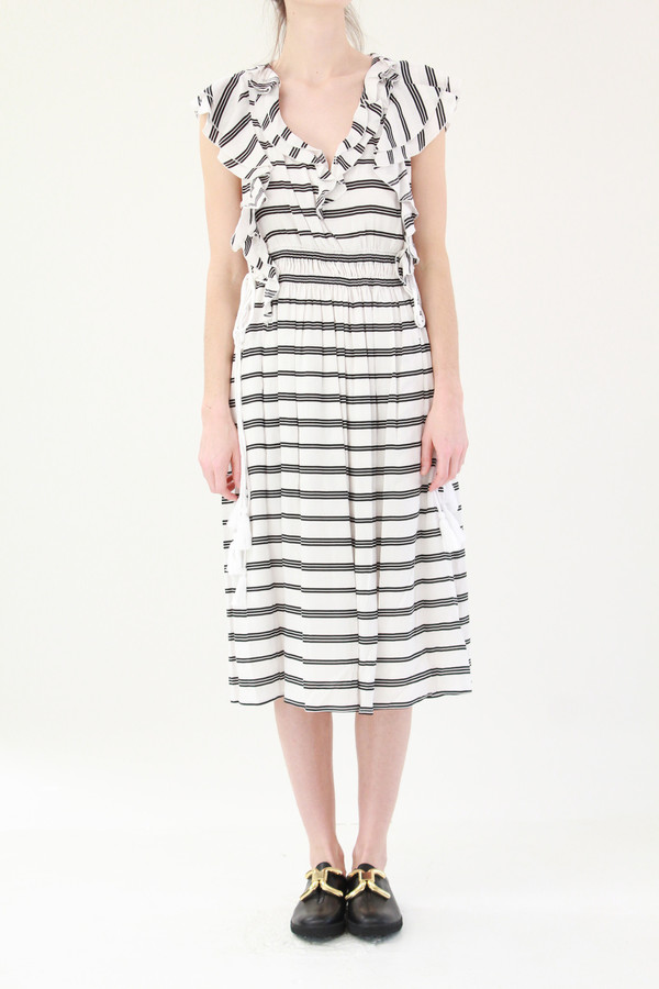 Apiece Apart San Rafael Midi Ruffle Dress Triple Stripe