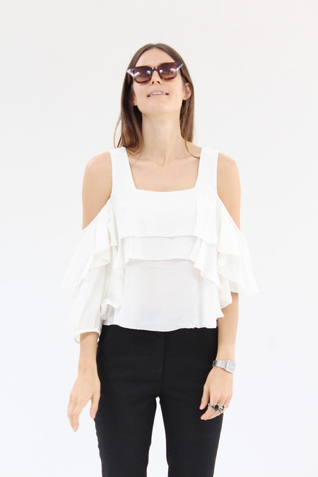 Apiece Apart Viga Cold Shoulder Top