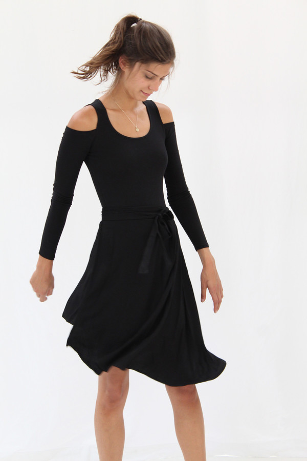 Black Crescent Wrap Skirt