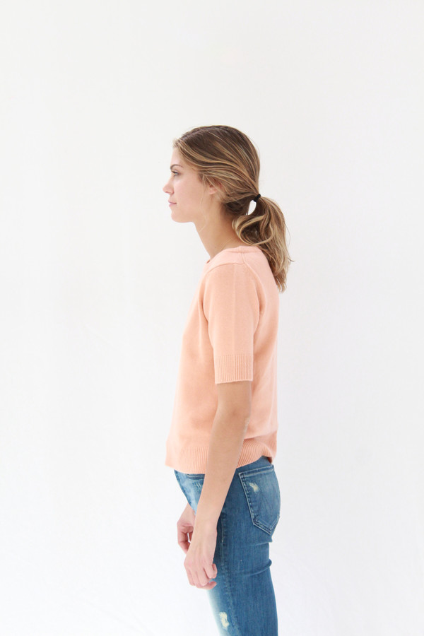 Lina Rennell Cashmere Top Peach