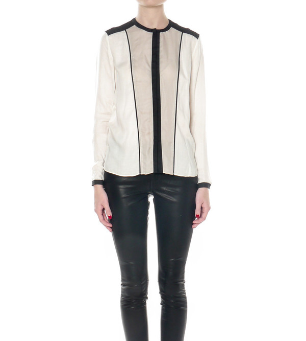 Helmut Lang Colorblocked Feathery Shirt