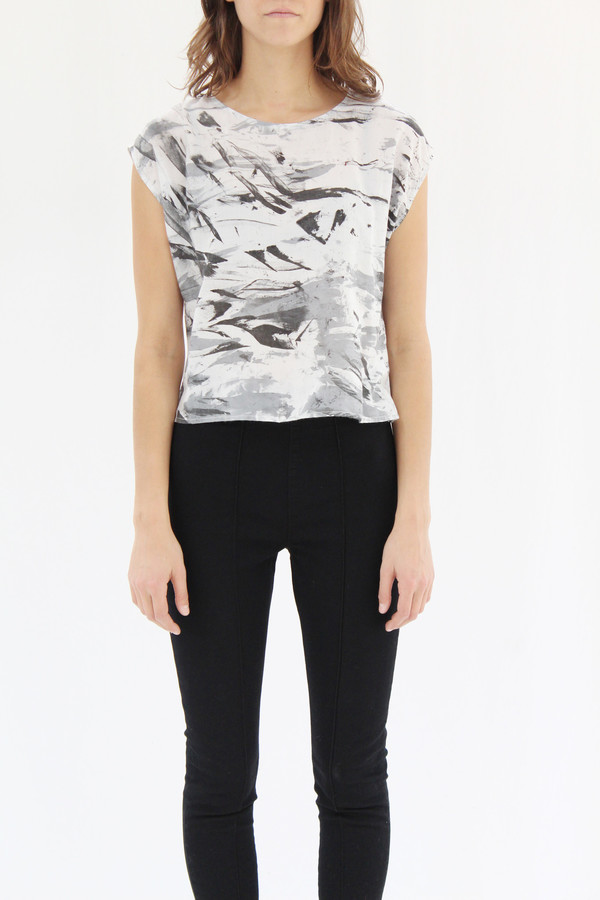 Osei Duro Maena Shell Top Black White Abstract