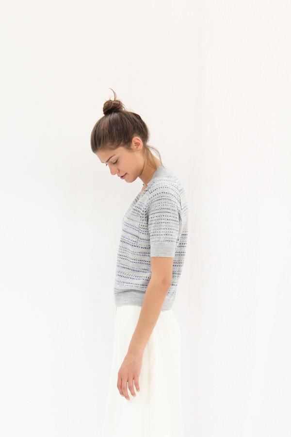 Rachel Comey Short Sleeve Knit Polo Grey