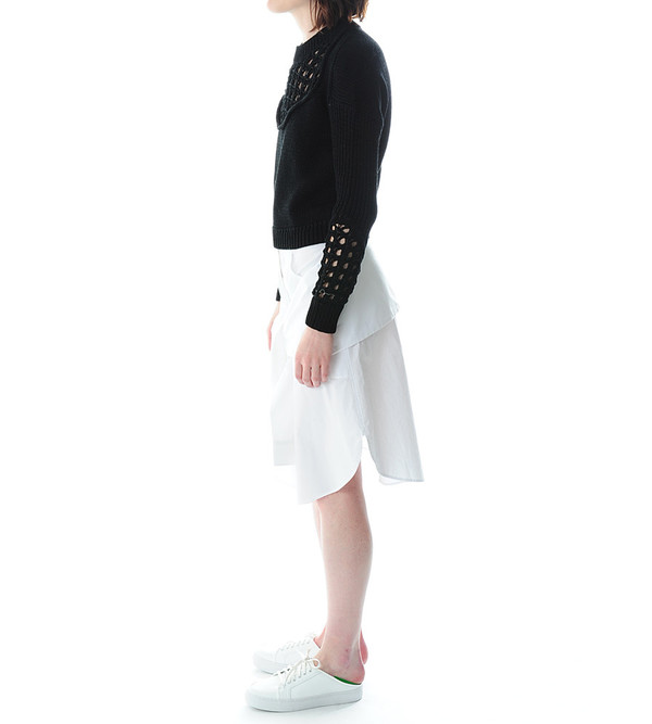 3.1 Phillip Lim Crewneck Pullover Sweater With Pointelle Stitch