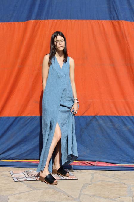Yasmin Raquel Linen Wrap Dress Indigo