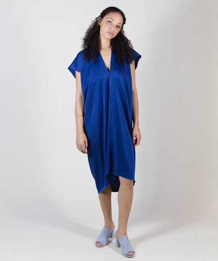 Miranda Bennett Indigo Silk Charmeuse Everyday Dress