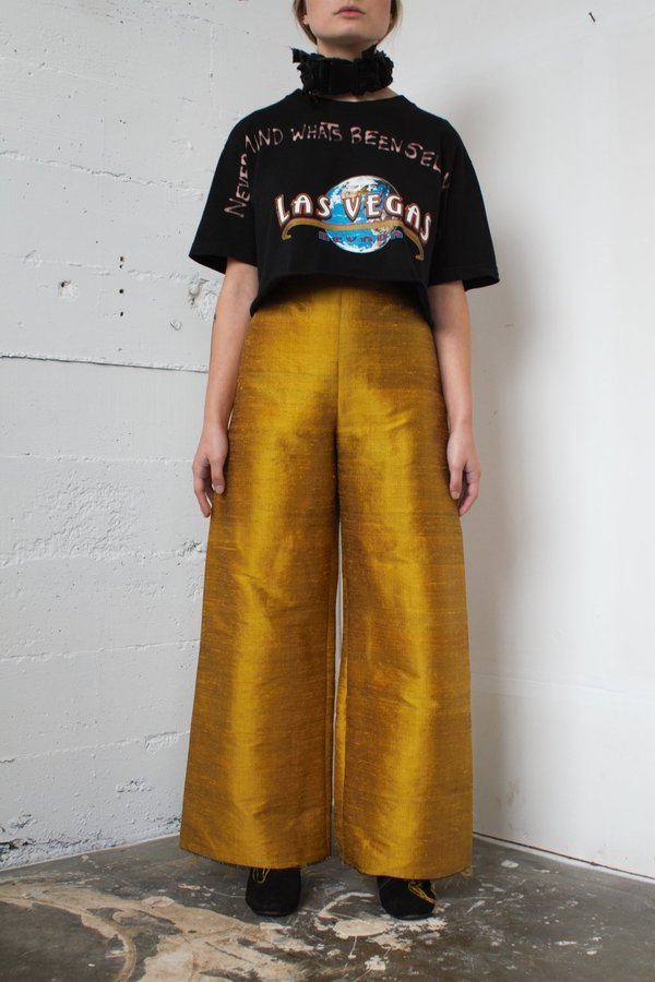 Alexa Stark gold silk pants