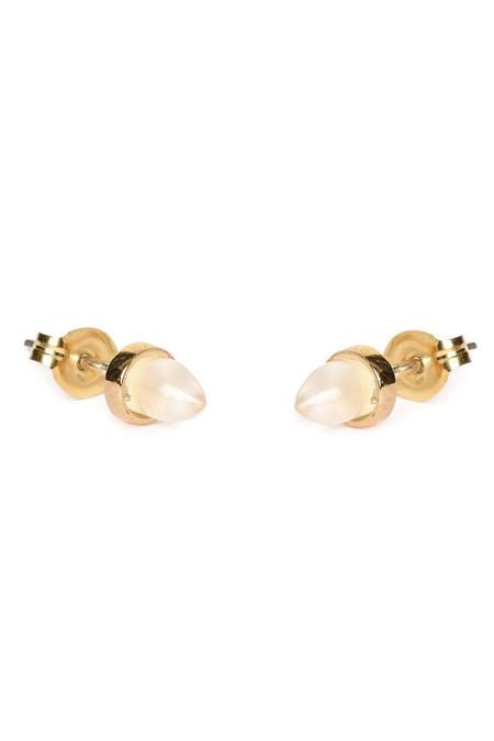 Bing Bang NYC Gemstone Bullet Earrings in Moonstone