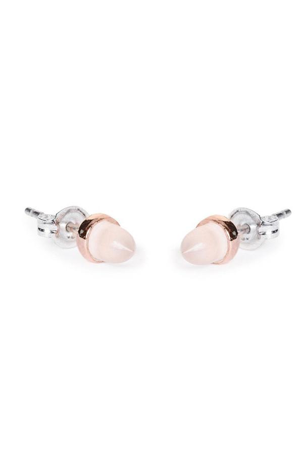Bing Bang NYC Gemstone Bullet Earrings in Rose Quartz