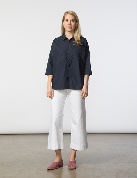 SBJ Austin Stephanie Top - Navy Poplin