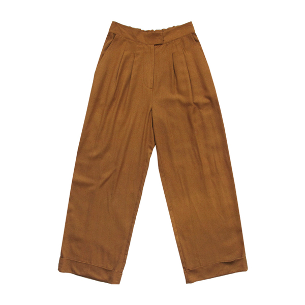 Ali Golden Roll Cuff Pant - Rust
