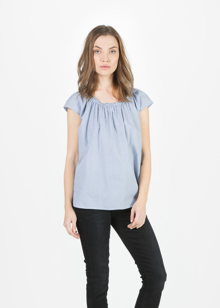 Organic by John Patrick Narrow Stripe Sleeveless Off Shoulder Top