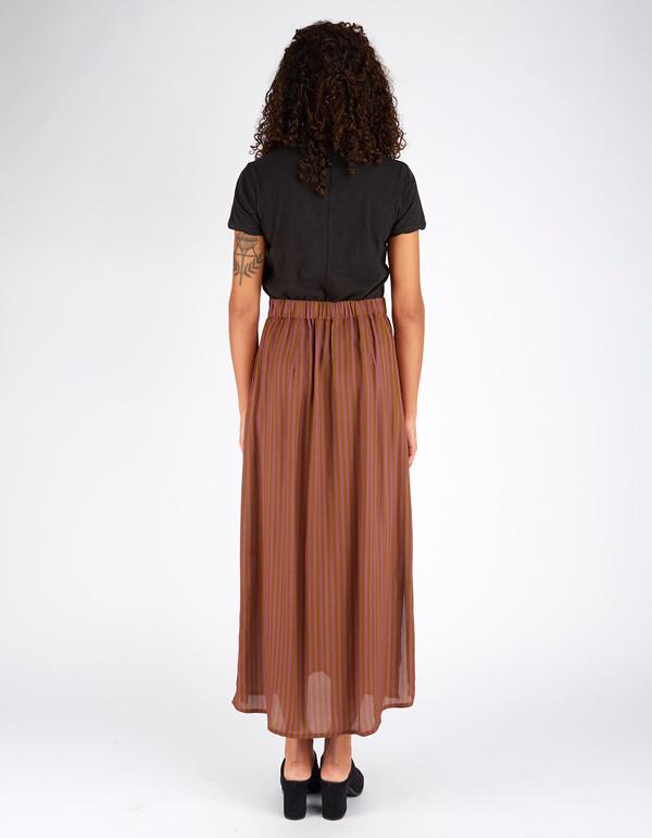 Ali Golden Button Down Skirt Copper Rust Stripe