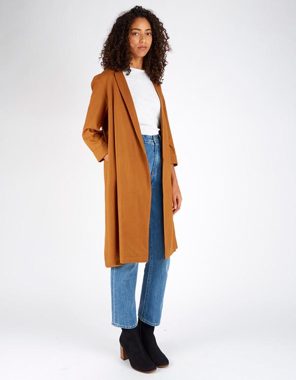 Ali Golden Raw Silk Notch Jacket Rust
