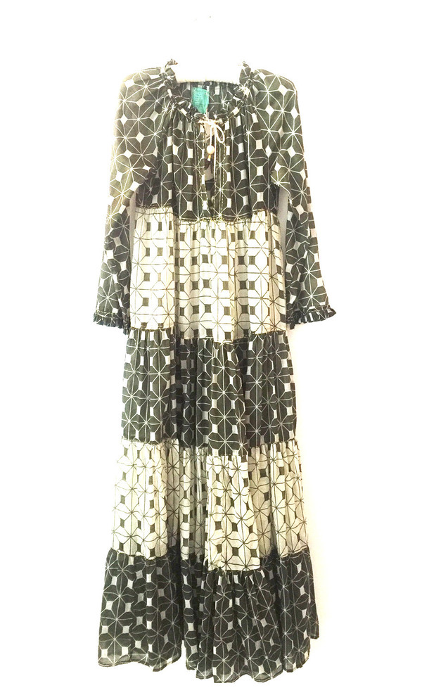 Yvonne S Sheer Maxi Hippy Dress - Khaki Green Block