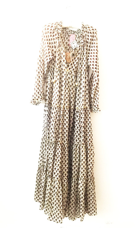 Yvonne S Sheer Maxi Hippy Dress - Oat with Plume