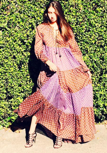 Yvonne S Sheer Maxi Hippy Dress - Plum Tulip