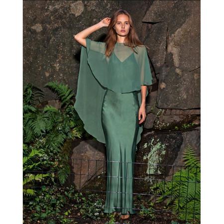 AwaveAwake Silk Bias Cut Slip Dress in Mango Leaf