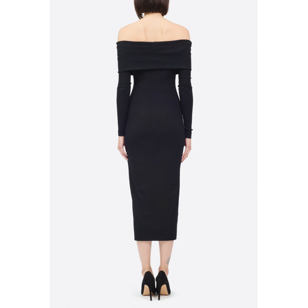 Nadia Tarr Black Rib Off The Shoulder Long Sleeve Pencil Dress