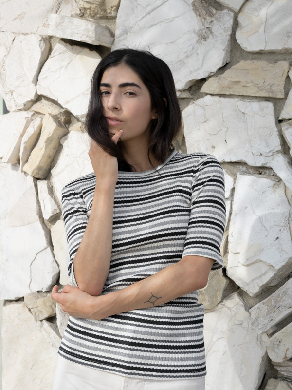 Calder Blake Diane Striped Variegated Rib Tee
