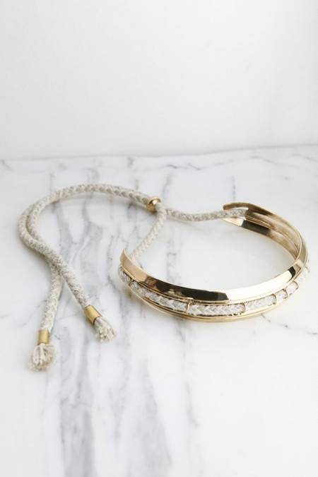 Brass Stepped Choker with Flax Linen