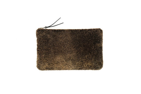 Primecut FOREST GREEN SHEEPSKIN CLUTCH