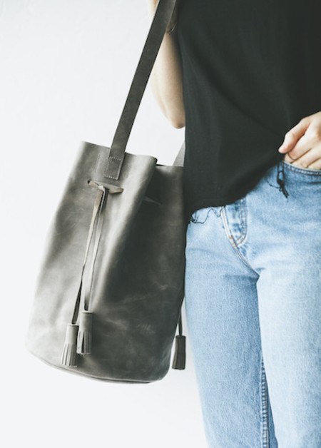Boutonne Cinched Bucket Tote in Grey