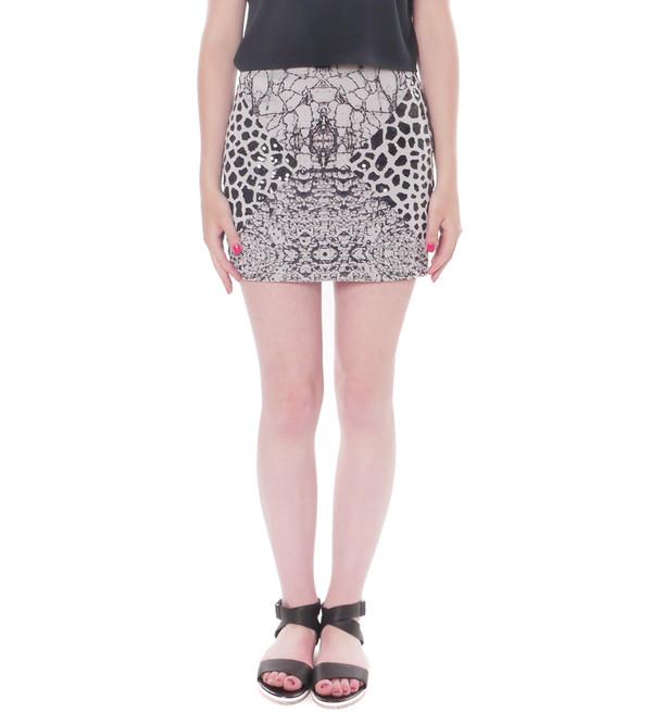 Shakuhachi Marble/Animal Print Neoprene Skirt