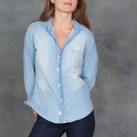 Frank and Eileen Barry Stone Washed Indigo Button Down Shirt
