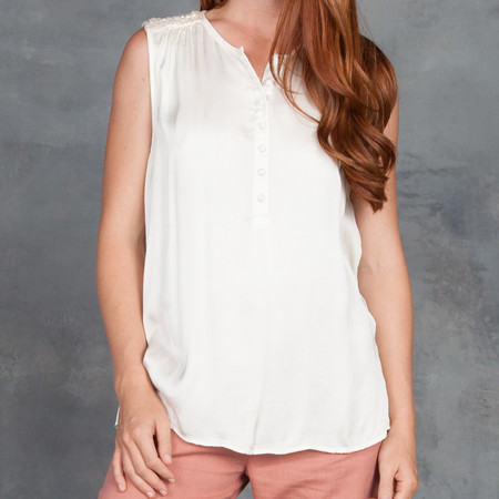 Gat Rimon Louli Shirred Shoulder Tank Top with Placket