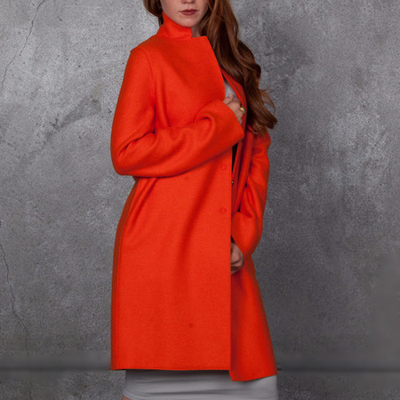 Harris Wharf London Cocoon Coat Pressed Wool Orange