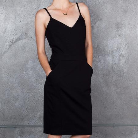 Obakki Ponte Sweetheart Neckline Dress in Black