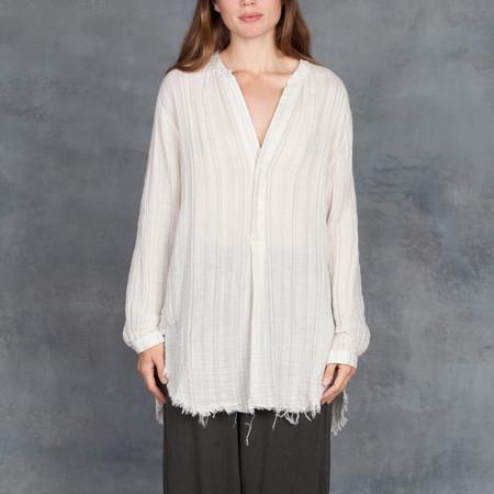 Raquel Allegra Cotton Gauze Henley Shirt in Natural Stripe