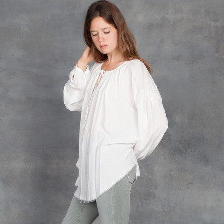 Raquel Allegra Rayon Lawn Shirred Blouse in White