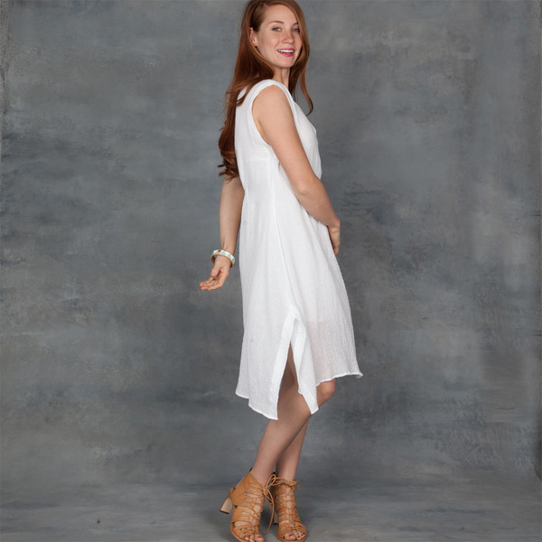 Skin Aila Sleeveless Dress in White Cotton Gauze