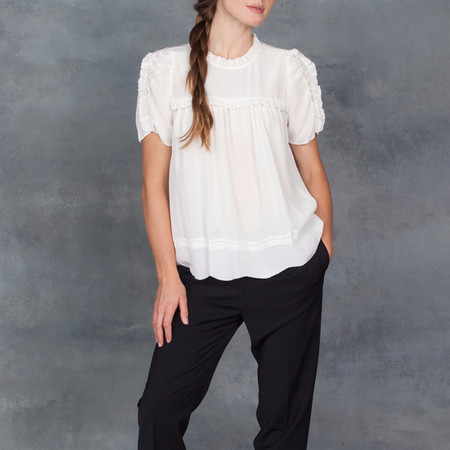 Ulla Johnson Isle Short Sleeve Pleated Ruffle Blouse in Snow