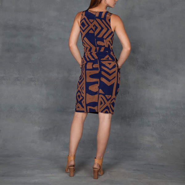 Doria Dress Tribal Print in Silk