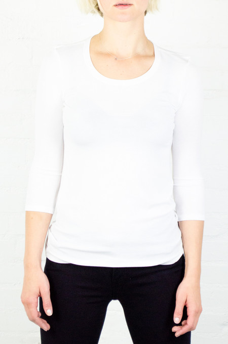 ATM Anthony Thomas Melillo ATM White 3/4 Sleeve Ballet Neck Rib Top